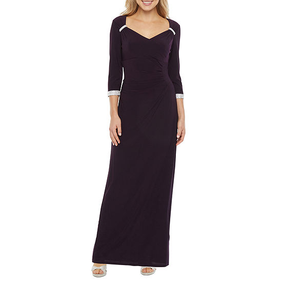 R & M Richards 3/4 Sleeve Embellished Evening Gown
