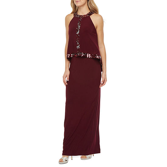 Onyx Nites Sleeveless Sequin Trim Evening Gown