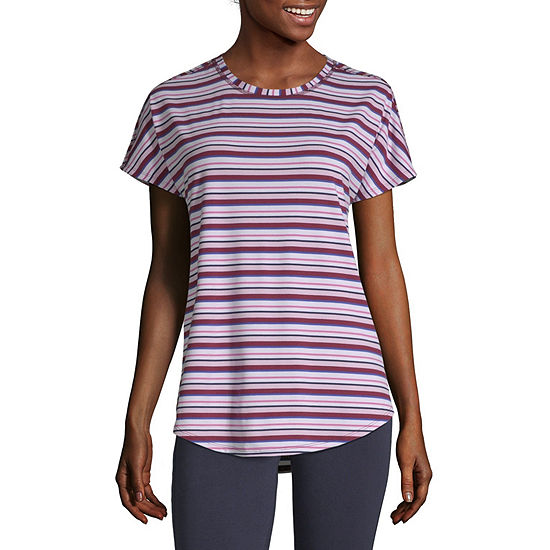 St. John's Bay Womens Crew Neck Short Sleeve T-Shirt Tall