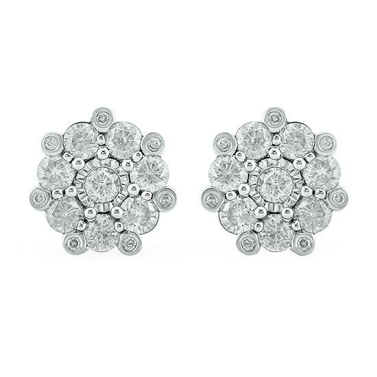 1 CT. T.W. Genuine White Diamond 10K White Gold 9.7mm Stud Earrings