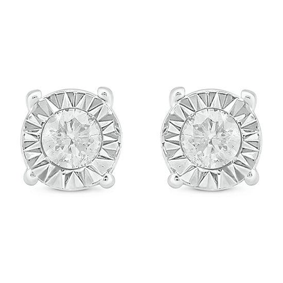 1/4 CT. T.W. Genuine White Diamond 14K White Gold 5.1mm Stud Earrings