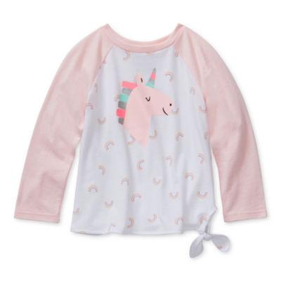 Okie Dokie Girls Round Neck Long Sleeve T-Shirt-Toddler