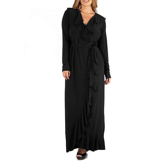24/7 Comfort Apparel Ruffle Neckline Black Maxi Dress - Plus