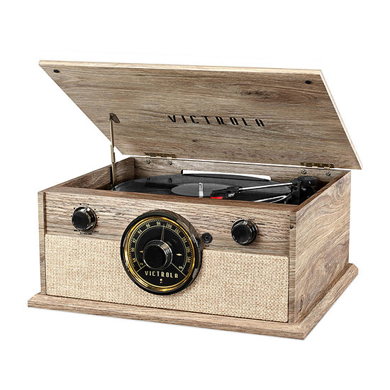 Victrola VTA-245B-FOT 4-in-1 Cambridge Farmhouse Modern Bluetooth Record Player with 3-Speed Turntable and FM Radio