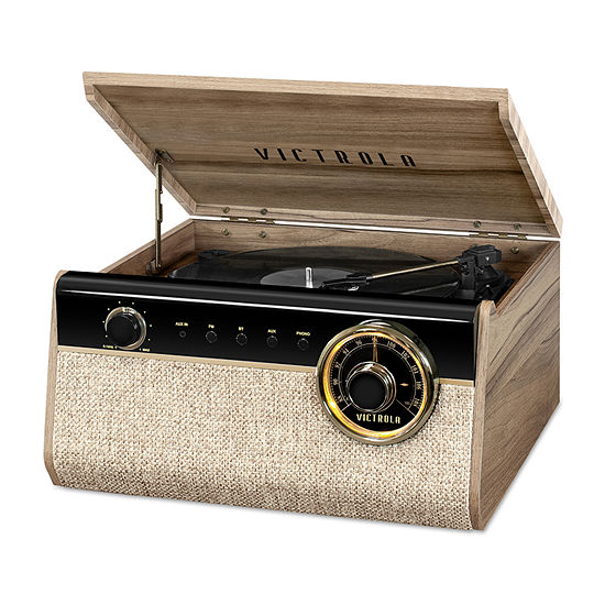 Victrola VTA-280B-FNT 4-in-1 Austin Bluetooth Record Player with 3-Speed Turntable and FM Radio