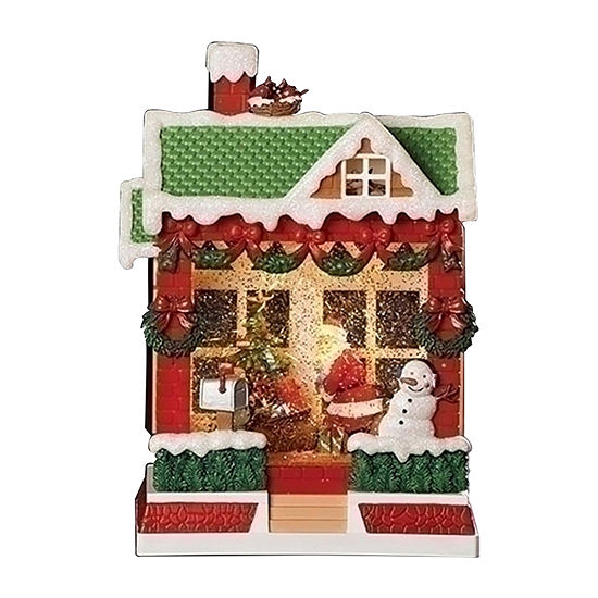 Roman Led House With Santa Delivering Presents Snow Globes