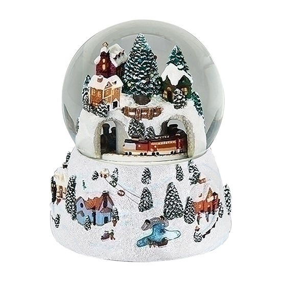 Roman Musical Village In Winter With Rotating Train Dome Snow Globes