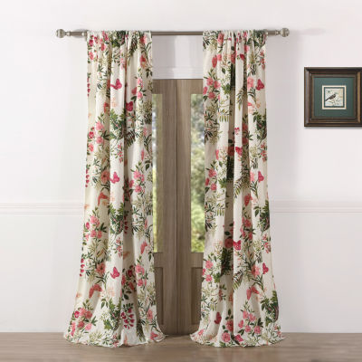 Greenland Home Fashions Butterflies Light-Filtering Rod-Pocket Set of 2 Curtain Panel