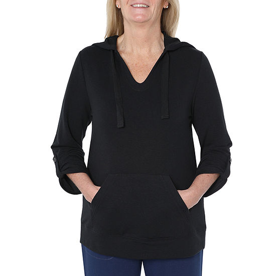 St. John's Bay Active Womens 3/4 Sleeve French Terry Hoodie