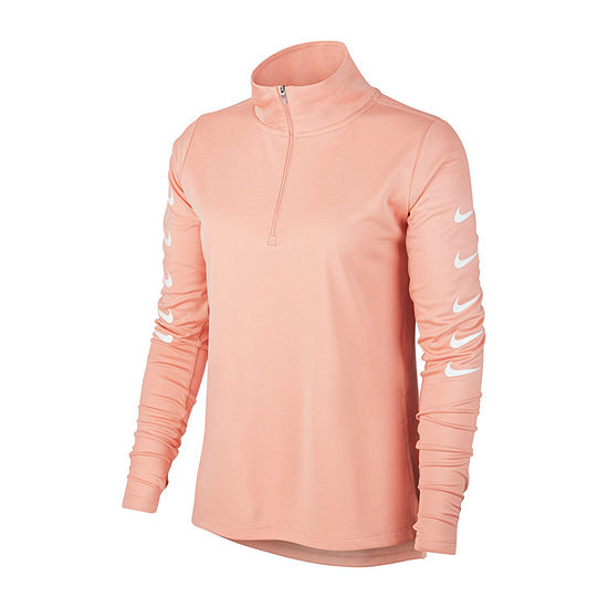 Nike Womens Mock Neck Long Sleeve Quarter-Zip Pullover