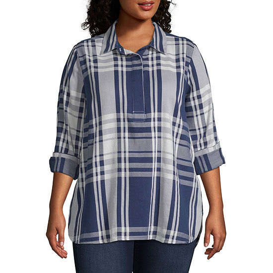 Liz Claiborne Long Sleeve Popover Tunic- Plus