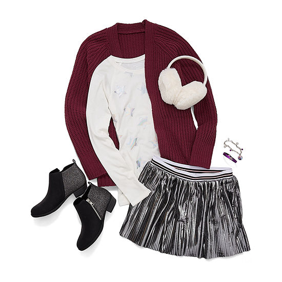 Fearless by Nature Girl's: Cardigan, Long Sleeve, and Pleated Skirt with Earmuffs