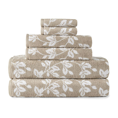 JCPenney Home Leaf Bath Towel, One Size , Beige