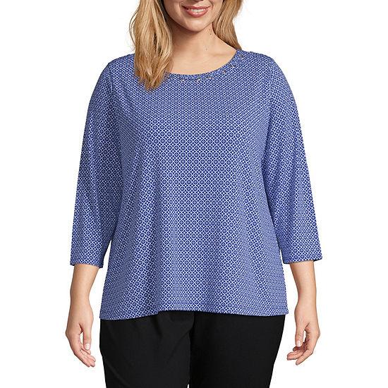 Liz Claiborne 3/4 Sleeve Laced Neckline Blouse - Plus