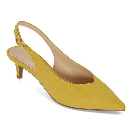 Liz Claiborne Womens Kitten Heel Quebec Pumps, 5 1/2 Medium, Yellow
