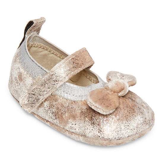 Okie Dokie Metallic Taupe Girls Mary Jane Shoes