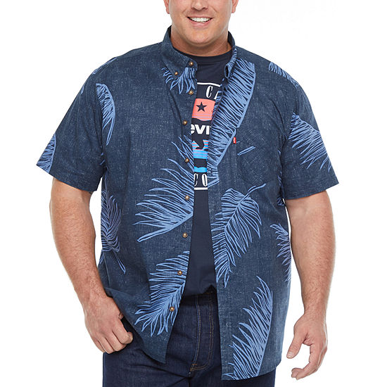 Levi's Big and Tall Wovens Mens Short Sleeve Floral Button-Front Shirt