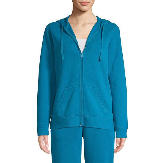 St. John's Bay Active Fleece Hooded Lightweight Jacket-Petite