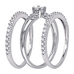 Womens 4MM 5/8 CT. T.W. Genuine White Diamond 10K White Gold Band