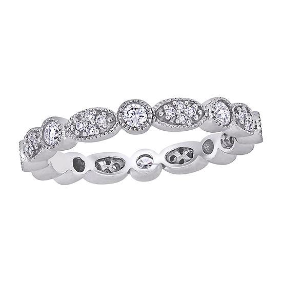 Womens 3MM 1/2 CT. T.W. Genuine White Diamond 14K White Gold Wedding Band