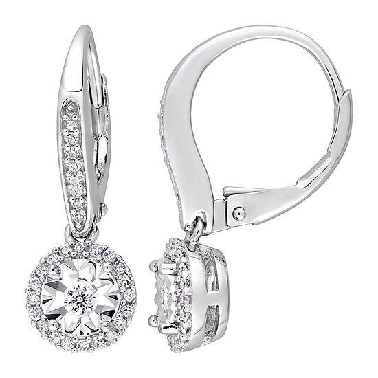 1/3 CT. T.W. Genuine White Diamond Sterling Silver Drop Earrings