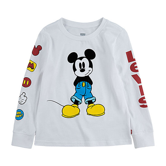 Levi's Boys Crew Neck Long Sleeve Mickey Mouse Graphic T-Shirt - Big Kid