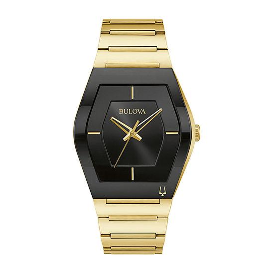 Bulova Mens Gold Tone Stainless Steel Bracelet Watch - 97a164