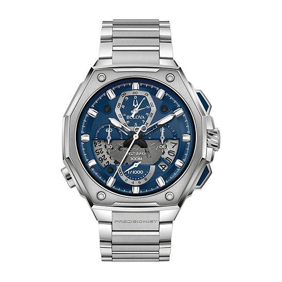 Bulova Precisionist Mens Silver Tone Stainless Steel Bracelet Watch - 96b349