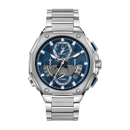Bulova Mens Silver Tone Stainless Steel Bracelet Watch - 96b349, One Size