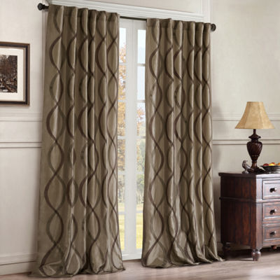 Madison Park Marcel Rod-Pocket/Back-Tab Embroidered Taffeta Curtain Panel