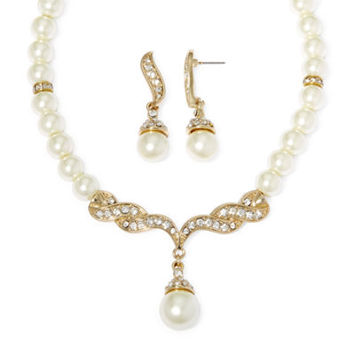 Monet® Simulated Pearl and Crystal Gold-Tone Drop Earring and Necklace Set