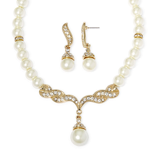 Monet Simulated Pearl And Crystal Gold Tone Drop Earring Necklace Set