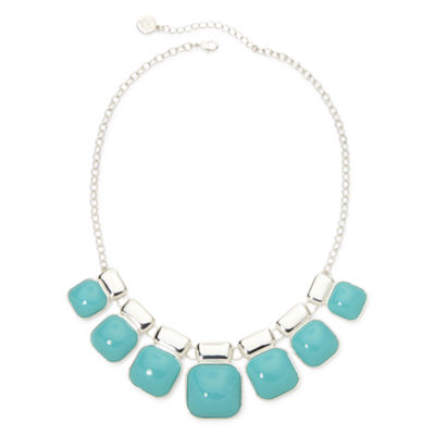 Liz Claiborne® Teal Square Stone Collar Necklace