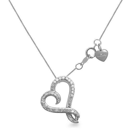 Hallmark Diamonds 1/10 CT. T.W. Genuine Diamond Sterling Silver Heart Pendant Necklace