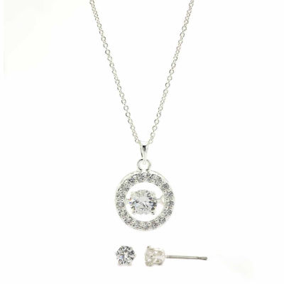 Sparkle Allure Clear Cubic Zirconia Round Heartbeat Pendant With Stud Earrings