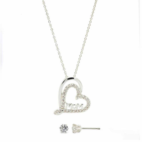 Sparkle Allure Clear Cubic Zirconia Silver Mom In Heart Pendant With Earrings