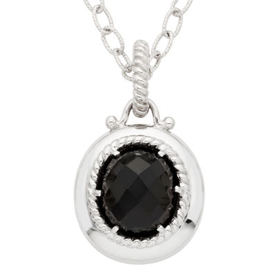 Womens Genuine Black Onyx Sterling Silver Pendant Necklace