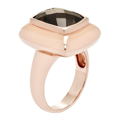 Womens Genuine Brown Quartz Gold Over Silver Cocktail Ring