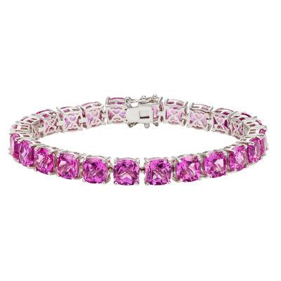 Womens Pink Sapphire Sterling Silver Tennis Bracelet