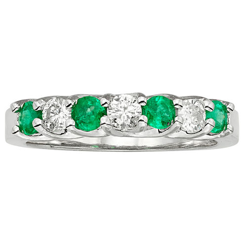1/3 CT. T.W. Genuine Emerald 14K Gold Band