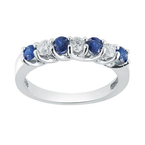 Womens 1/3 CT. T.W. Genuine Blue Sapphire 14K Gold Band