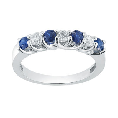 Womens 2mm 1/3 CT. T.W. Genuine Blue Sapphire 14K Gold Band