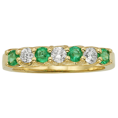 Womens 1/3 CT. T.W. Genuine Emerald 14K Gold Band