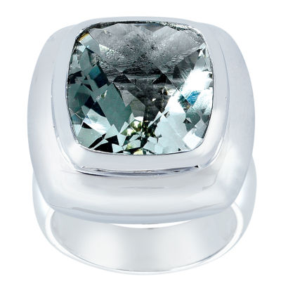 Womens Green Amethyst Sterling Silver Cocktail Ring