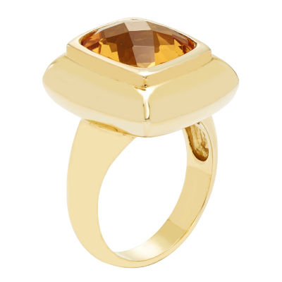 Womens Genuine Orange Citrine Gold Over Silver Cocktail Ring