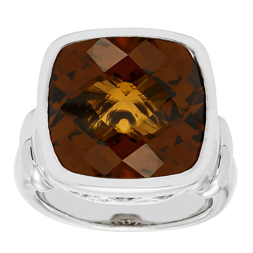 Womens Genuine Brown Citrine Sterling Silver Cocktail Ring