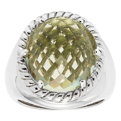 Womens Genuine Green Amethyst Sterling Silver Cocktail Ring