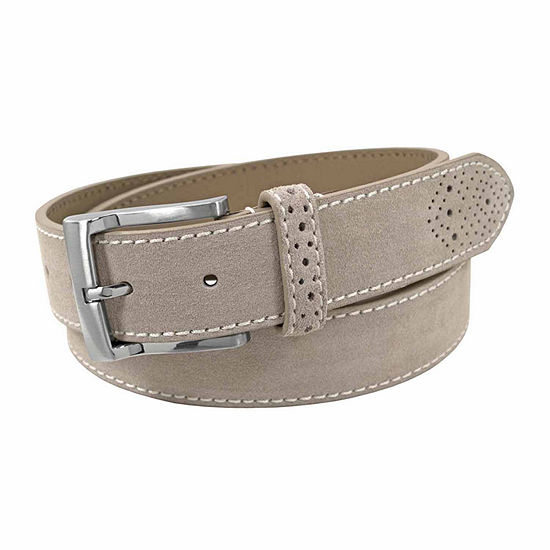 Florsheim® 34MM Suede Leather Belt with Contrast Stitching