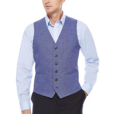 Stafford Linen Cotton Mid Blue Herringbone Vest-Classic