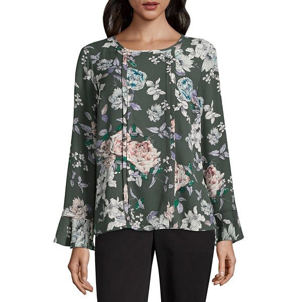 Liz Claiborne Long Sleeve Crew Neck Woven Blouse - Tall